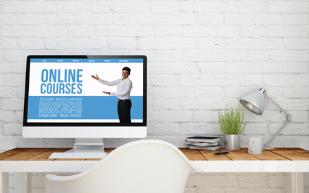 briks studio withonline courses on computer screen. 3d rendering. Stok Fotoğraf