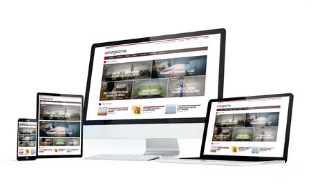 Dispositivos de movilidad aislados con el diseño moderno de la revista sensible en la pantalla. Representación 3D. Foto de archivo