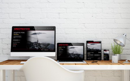 vod: multidevice desktop with web series streaming on screens. 3d rendering.