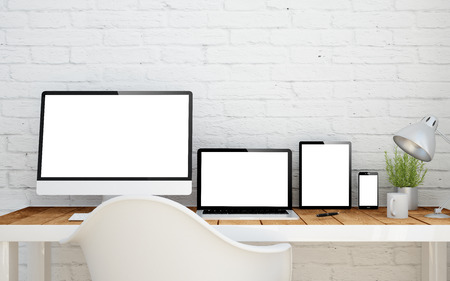 office wall: multidevice desktop with isolated screens. 3d rendering.
