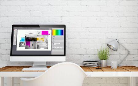 studio briks avec le logiciel de conception sur écran d'ordinateur. rendu 3d. Banque d'images