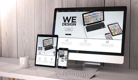 Digitaal gegenereerde apparaten op desktop, responsief websiteontwerp op scherm. Alle schermafbeeldingen zijn samengesteld. 3D-rendering.