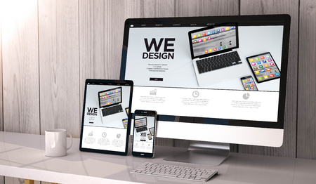 Digital generated devices on desktop, responsive  website design on screen. All screen graphics are made up. 3d rendering.