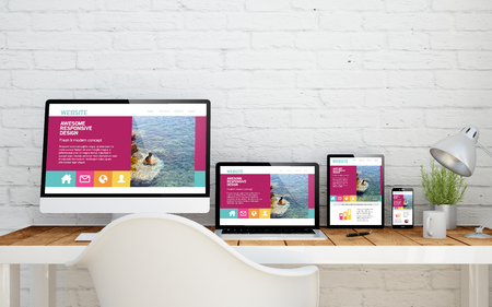 multidevice desktop with fresh design website on screens. 3d rendering.