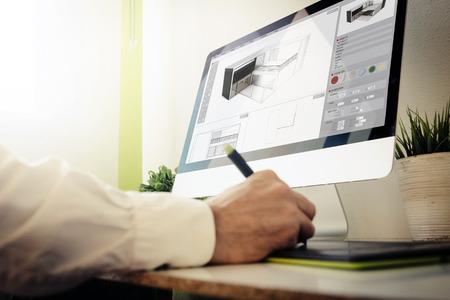 arquitecto: 3d arquitecto el diseño de una casa. Todos los gráficos de la pantalla se componen. Foto de archivo