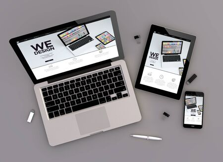 zenith: 3d rendering of design responsive devices with laptop computer, tablet pc and touchscreen smartphone. Zenith view. All screen graphics are made up.