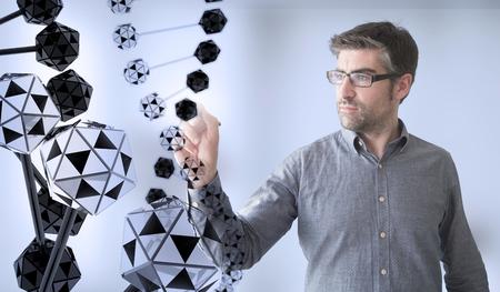 genom: businessman touching dna chain Stock Photo