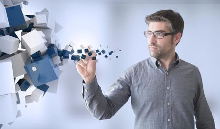 establishes: businessman touching blue cubes