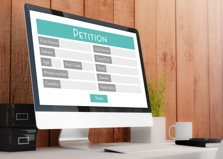instance: modern wooden workspace with  petition Form. All screen graphics are made up. 3D rendering