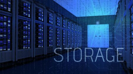 3d rendering of server room with storage text