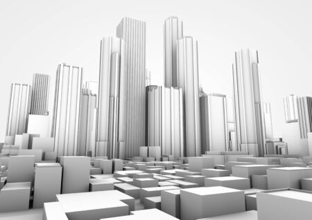 corporate buildings: 3d render of a white big city