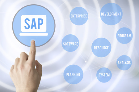 hand touching a touch screen interface with SAP (software enterprise resource planning)