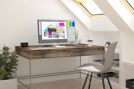 attic: 3d rendering of attic workplace graphic design. all screen graphics are made up.