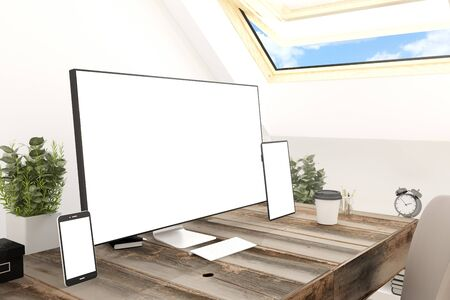 desktop computers: 3d rendering of white screen devices in attic workplace Stock Photo