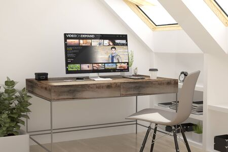 attic: 3d rendering of attic workplace video on demand. all screen graphics are made up. Stock Photo