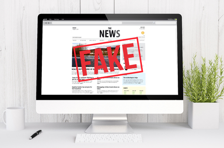 disinformation: 3d rendering fake news on computer. All screen graphics are made up.