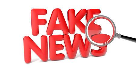 disinformation: 3d rendering of fake news text