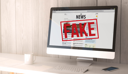 digital render generated workspace with computer and smartphone. fake News website on the screen. All screen graphics are made up. 스톡 콘텐츠