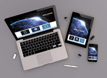 computer devices: 3d rendering of communications website responsive devices with laptop computer, tablet pc and touchscreen smartphone. Zenith view. All screen graphics are made up.