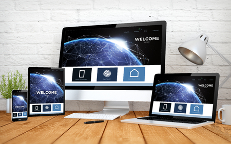 3d rendering with multidevices with earth responsive design website Zdjęcie Seryjne