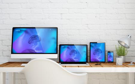 multidevice desktop with responsive website on screens. 3d rendering. Stockfoto