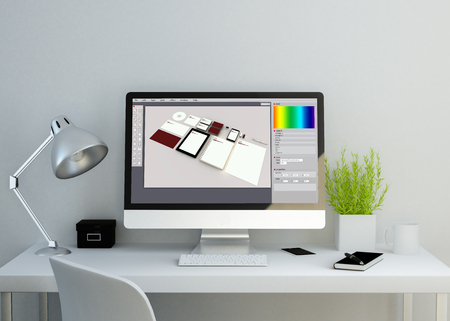 modern clean workspace mockup with branding design software on screen. 3D rendering. all screen graphics are made up.