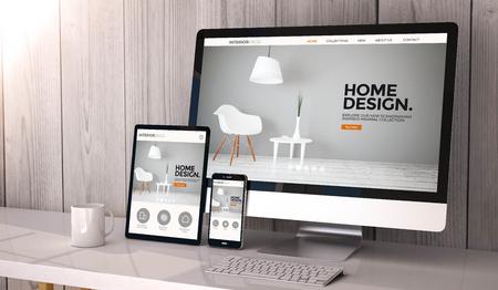 Digital generated devices on desktop, responsive interior design website design on screen. All screen graphics are made up. 3d rendering. Standard-Bild