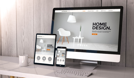 Digital generated devices on desktop, responsive interior design website design on screen. All screen graphics are made up. 3d rendering. Фото со стока
