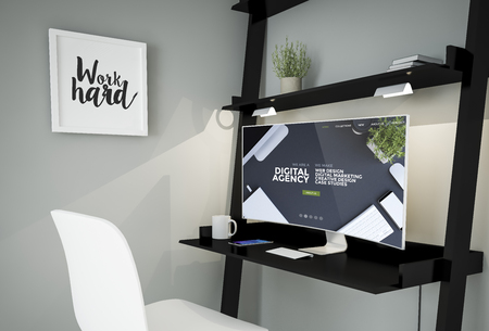 3d rendering of workplace with curved screen computer showing digital agency website Stock Photo
