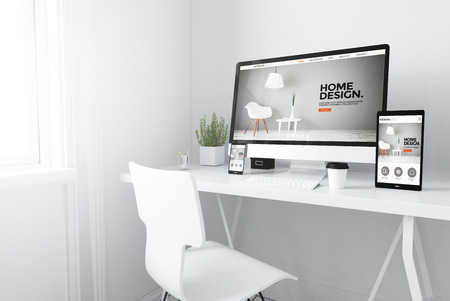 3d rendering of devices on desktop. interior design website home on screens.