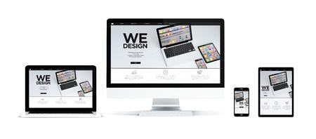 흰색 배경에 태블릿, 전화, 컴퓨터 및 노트북 : 응답 성 모바일 애플 리케이션 디자인 웹 사이트를 보여주는 현실적인 격리 된 장치의 3d 렌더링. 스톡 콘텐츠