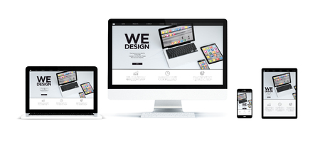 3d rendering of realistic isolated devices showing responsive mobile app design website on screen: tablet, phone, computer and laptop on white background.