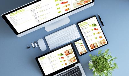 blue devices top view online supermarket 3d rendering.