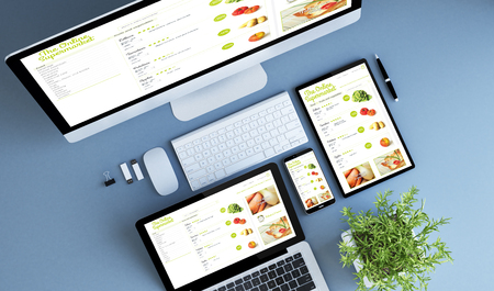 blue devices top view online supermarket 3d rendering. Zdjęcie Seryjne - 82423106