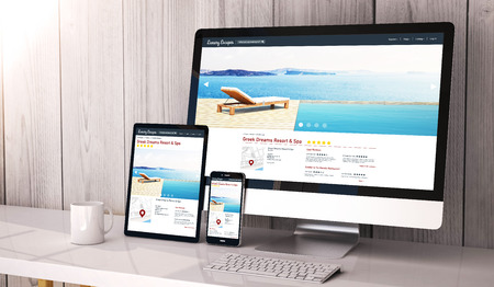 Digital generated devices on desktop, responsive luxury escapes website design on screen. All screen graphics are made up. 3d rendering.