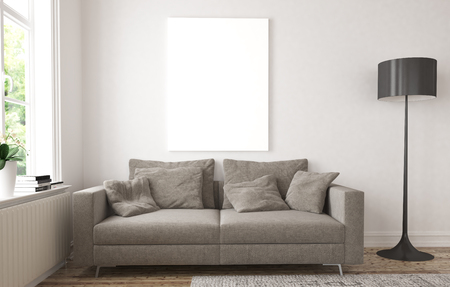 living room window: mock up blank poster on the wall with scandinavian interior style 3d rendering