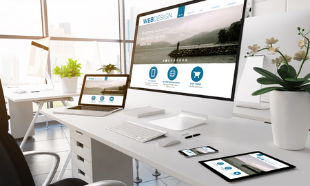 3d rendering devices on modern office. web designwebsite on screen.