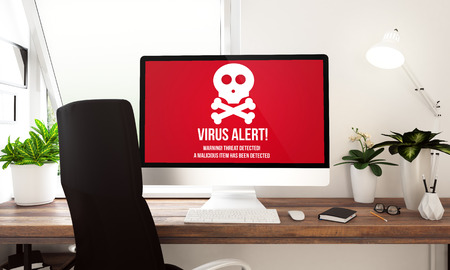 Computer met viruswaarschuwing bij lijst het 3d teruggeven