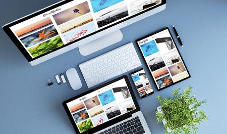 appareils bleus vue de dessus portefeuille photo créatif rendu 3d.
