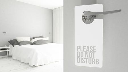 3d rendering of a door hanger with do not disturb message 写真素材