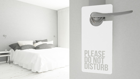 3d rendering of a door hanger with do not disturb message Foto de archivo