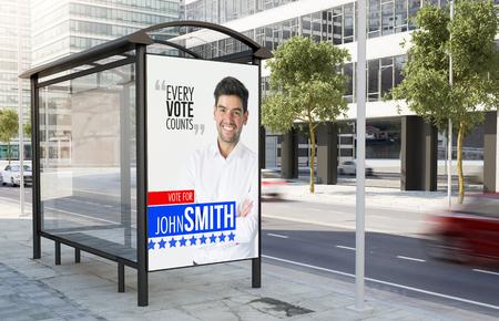 bus stop political marketing billboard on the street 3d rendering