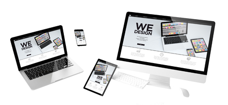 flying devices with we design website responsive design 3d rendering Archivio Fotografico