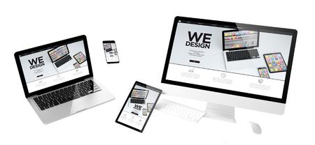 flying devices with we design website responsive design 3d rendering Foto de archivo