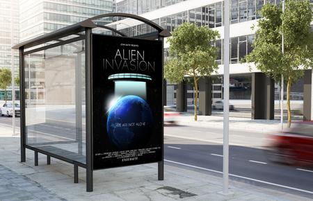 Arrêt de bus affiche de film panneau d'affichage dans la rue rendu 3d