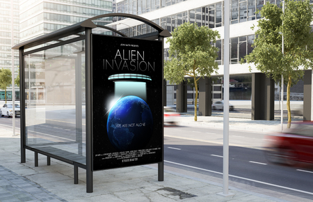 bus stop movie poster billboard on the street 3d rendering