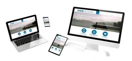 Flying devices with web design website responsive design 3d rendering
