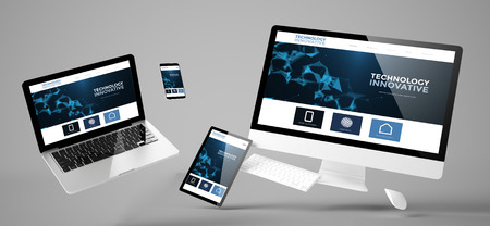 flying devices with innovative technology website responsive design 3d rendering