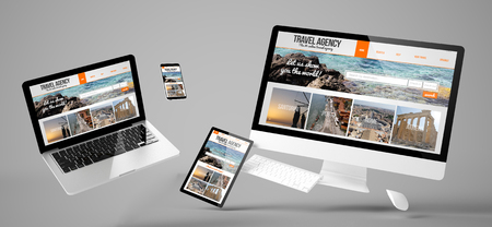 Flying devices with travel agency website responsive design 3d rendering