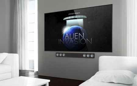 Big screen smart tv at living room with sci-fi movie on screen. 3d rendering. Stock Photo